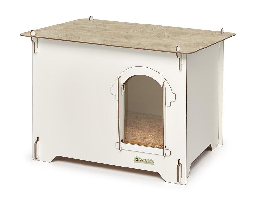 Cuccia colonial bianca color legno cucce per cani for Cucce per gatti da esterno coibentate